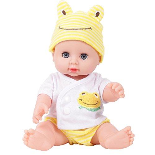 Emulation Baby Puppe Spielzeug, mamum emuliert Blink Puppe Weich Kinder Reborn Baby-Puppe Spielzeug Junge Mädchen Geburtstag Geschenk Einheitsgröße gelb