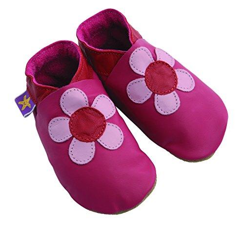 Poppy Fuchsia chaussures de bébé en cuir souple (tres grand EU 23 UK 6)