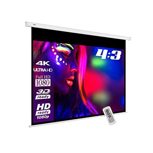 eSmart Basics Motor-Leinwand [Größenauswahl] 200 x 150 cm | Format 4:3 | Fernbedienung | Vollmaskierung | Heimkino elektrische Beamer Projektionsleinwand Motor Leinwand LCD (Beamer Leinwand Motor)