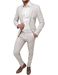 Abito completo uomo sartoriale in lino slim fit vestito elegante estivo 10b46c4666a