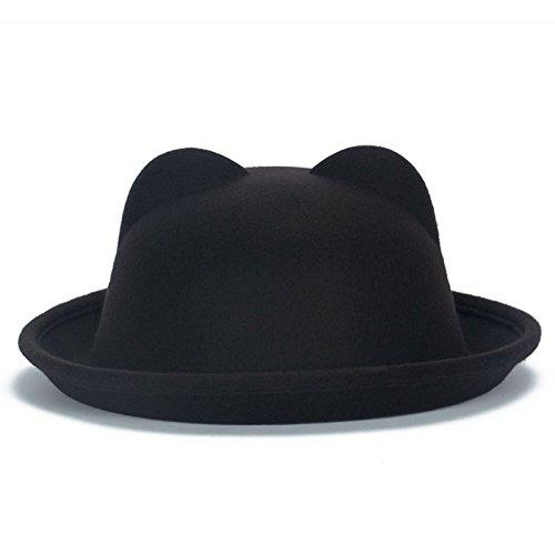 Mebare (TM) delle donne della signora di moda di lana Horn padre-figlio Bowler cappelli di Fedora Derby dell'orecchio di gatto Beach Cap