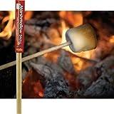 Wooden Marshmallow Sticks 32-inch (100% Biodegradable) 24-pc Set by Wood Campfire Sticks