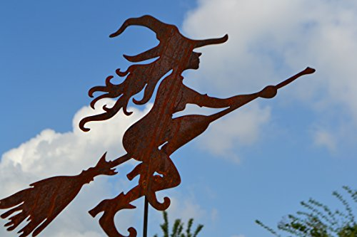 Gartenstecker- lustige Hexe Edelrost,120 cm