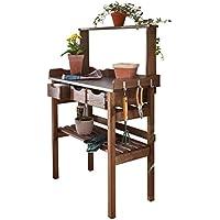 Table de plantation table de rempotage en bois et métal galvanisé 3 tiroirs et 3 crochets marron 78 x 38 x 112 cm