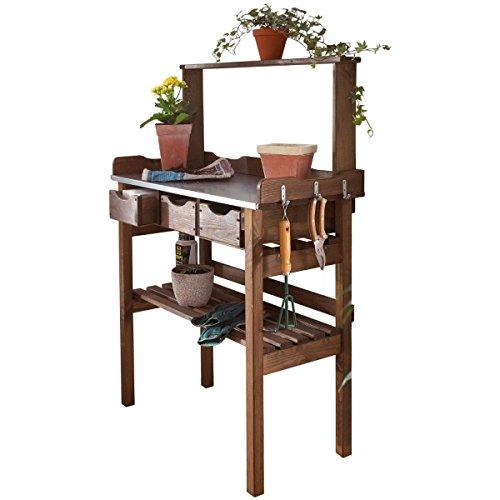 Pflanztisch für Garten Terrasse Balkon 3 Schubladen 3 Haken Holz verzinkte Metall-Arbeitsfläche braun ca. 78 x 38 x 112 cm