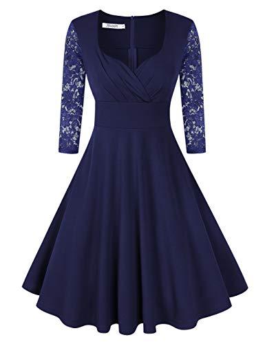 KOJOOIN Damen 50er Vintage Kleid Retro/Cocktailkleid/Abendkleid/Ballkleid Rockabilly V-Ausschnitt Kleid Knielang Langarm Navyblau Dunkelblau L