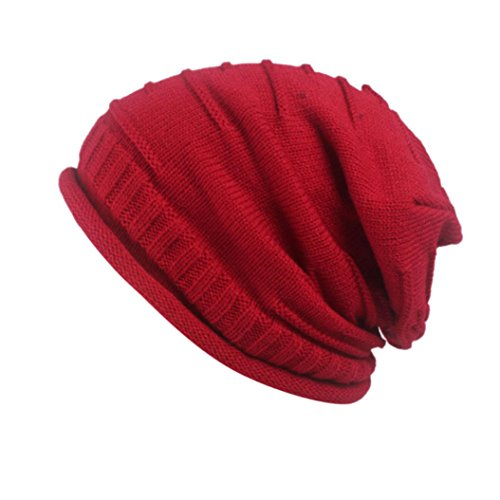 Frauen Retro Winter Stricken Hut Turban Krempe Hut Cap Pile Cap Damen Strickmütze von FEITONG (Hutumfang:56-58cm, Rot)