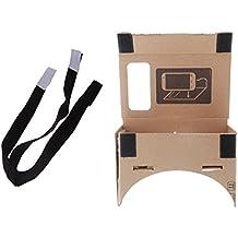 Andoer Gafas 3D de Google de cartura Realidad Virtual VR + una Correa para cabeza negra desmontable elástico ajustable (M)