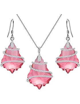 EVER FAITH® 925 Sterling Silber CZ Baroque Form Halskette Ohrringe Set geschmuckt mit Kristallen von Swarovski®