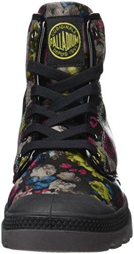 Palladium Pampa Hi Flo F, Baskets Hautes Femme Multicolore (C48 Black/Flower Multi)