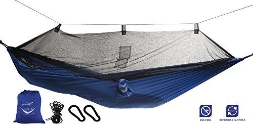Hamac en toile de parachute avec moustiquaire intégrée Krazy Outdoors - Nylon ultra résistant - Réversible - Parfait pour le camping - Longueur totale de 325cm - Longueur et largeur de la toile 275cm x 140cm - Couleur Bleu