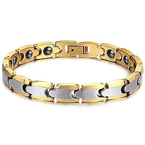 JewelryWe Schmuck Wolframcarbid Gesundheit Magnet Armband für Damen & Herren