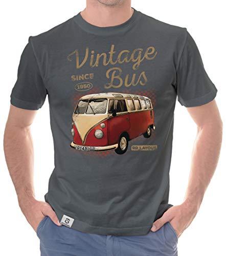 shirtdepartment - Herren T-Shirt - Vintage Bus dunkelgrau-Hellbraun L