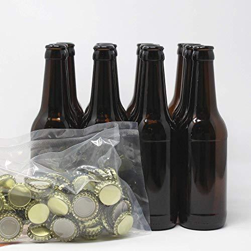 Contenido: 16 botellas de 33cl. y 100 chapas corona 26mm.  Ficha técnica botellas. Capacidad: 330ml,33cl. Peso: 250grs. Diámetro: 61,90 mm. Altura: 226,0 mm. Color: vidrio-topacio. Boca: Corona Cerveza 26 mm.  Dimensiones: 250x250x235 mm. Peso aprox:...