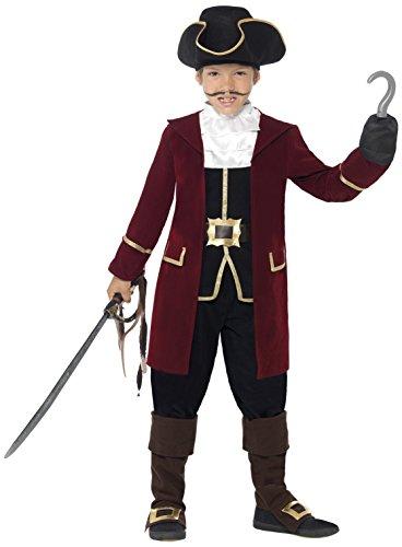 Smiffys, Kinder Jungen Piraten Kapitän Deluxe Kostüm, Jacke, Westenattrappe, Hose, Halstuch und Hut, Größe: S, (Deluxe Kapitän Piraten Kostüme)