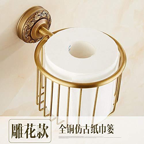 Joeesun Punch-Free Kupfer Papiertaschentuch Box Toilette Badezimmer Toilettenpapierablage Hand Papierrolle Papierhandtuchhalter Toilettenpapierkorb Magic Lampe geschnitzt Papiertuch -