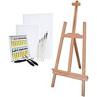 Artina Lille - Set de pintura completo para niños - Caballete, colores acrílicos, lienzos, pinceles y espátulas