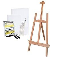 Artina® Completo set de pintura con caballete para niños, 18 colores acrílicos, 2 lienzos, pinceles y espátulas