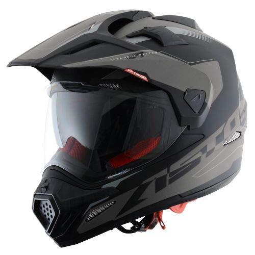 Astone Helmets -CROSS TOURER ADVENTURE - Casque de motocross homologué en polycarbonate - Casque intégral polyvalent, 3 en 1 enduro route et trail - Matt black M