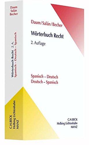 Wörterbuch Recht: Spanisch - Deutsch / Deutsch - Spanisch