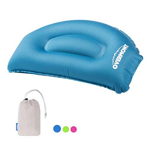 Overmont almohada inflable hinchable de viaje cervical ergonomico y portátil para cuello apoyo suave con bolsa de transporte para viaje avión coche tren camping playa oficina siesta azul/ violeta/ verde