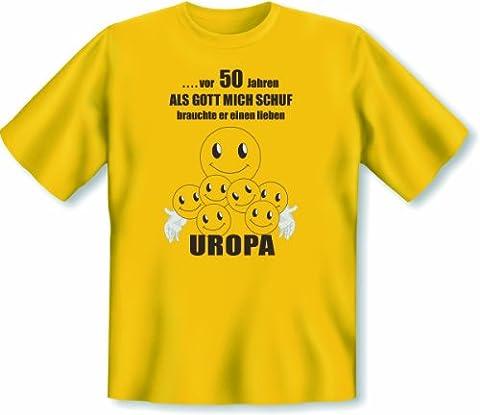 Geschenk zum 50. Geburtstag T Shirt Vor 50 Jahren als Gott mich schuf brauchte er einen lieben Uropa Größe 3XL Farbe gelb