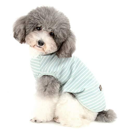 Klassischen Pyjama-top (Zunea Hunde-Shirt für kleine Hunde und Katzen, gestreiftes T-Shirt, Sommer, Cool Weste, für Welpen, Basic Tank-Top aus weicher Baumwolle)
