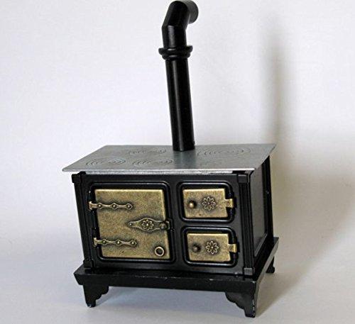 Preisvergleich Produktbild Mini Herd Ofen mit Ofenrohr schwarz Puppenhausmöbel Küche Miniatur 1:12