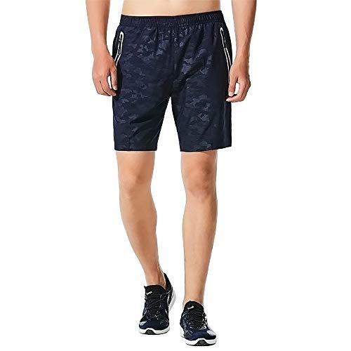 CHYU Sporthose Kurz Herren Soft Comfort Schnelltrocknend mit Reißverschlusstasche Sport Shorts Jogginghos (Blau, L) -