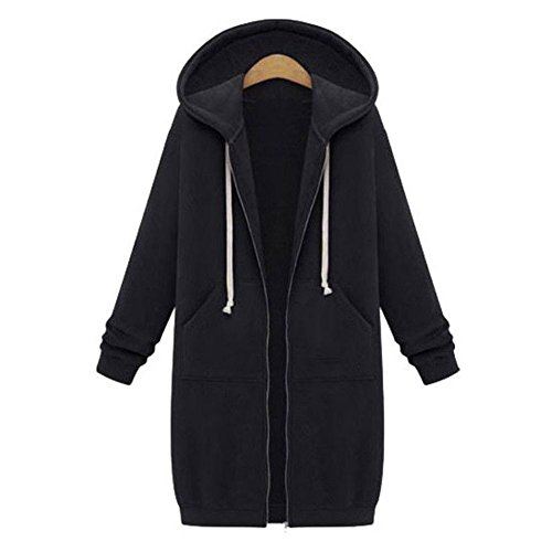 Damen Übergröße Winterjacke Mantel - hibote Herbst Lang Jacke Oversized Cardigan Hooded Parka Kapuzenjacke Trenchcoat Outerdoor Coat S-5XL (Mit Reißverschluss Cardigan Kapuze Pullover)