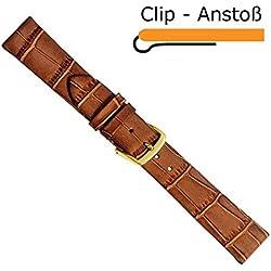Louisiana Clip Ersatzband Uhrenarmband Kalbsleder Band Braun 20462G, Stegbreite:16mm