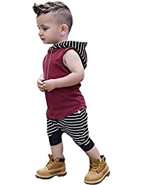 Sunenjoy Enfants Tout-Petits BéBé GarçOn Rayé Sans Manches Capuche Gilet Tops + Shorts Pantalons 2Pcs Ensembles VêTements