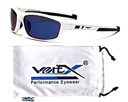 VertX Men Polarized Sunglasses Sport Cycling Running - White Frame - Blue Lens
