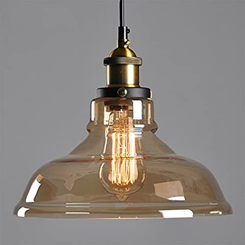 Amber Glass Shade Ceiling Chandelier Fitting Vintage Retro Pendant Lamp Shade (E27 Screw lamp base, JUST Lamp Shade, excluding Light Bulb)
