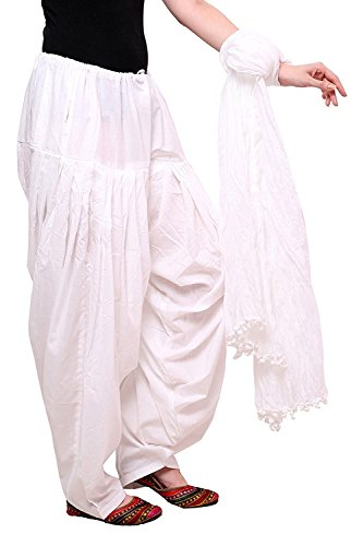 GoGreenWorld Women\'s Cotton Patiala Salwar Dupatta Set (GGW-PP-0056, White, Free Size)