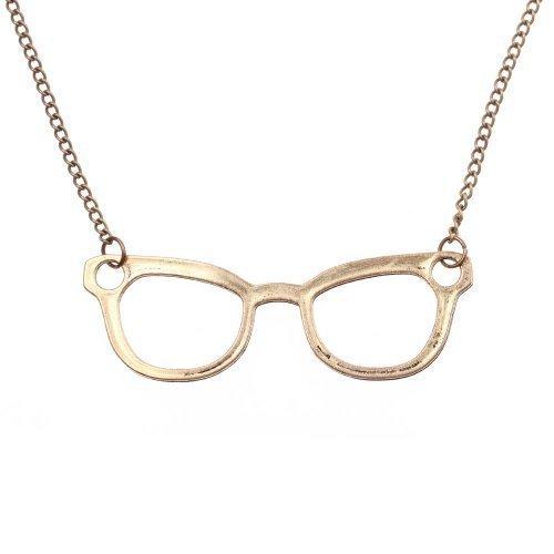 Nerd Halskette mit großer Brille - ca. 70cm lange Kette - Anhänger Vintage Hornbrille gold bronze