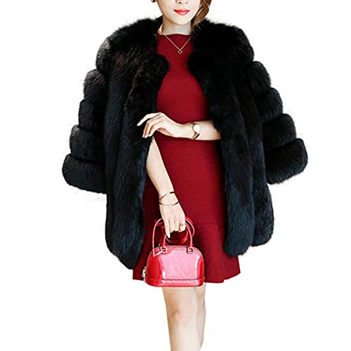 ntel Winter Elegant Warm Kunstfell Jacke Kurzmantel Mantel Kunstpelz Flauschiges Outwear Parka Felljacke Felljacke Fellmantel Einfarbiger Wintermantel Für Frauen ()