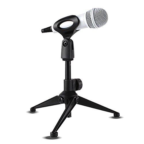 Universal Mikrofon Ständer faltbar verstellbar Desktop Mikrofon Stativ Tabletop Ständer mit kleinen Clip für Podcasts Meetings Online-Chat Konferenzen Vorlesungen und mehr (Herren-ring Profil-logo)
