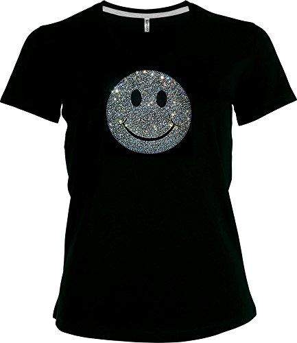 elegantes Shirt Damen Shirt superschöner grosser Smilie Strass kristall BIG V-Ausschnitt, T-Shirt, Grösse XXXXL, schwarz - Kristall V-ausschnitt T-shirt
