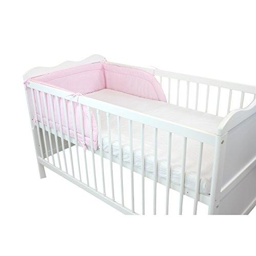 TupTam Baby Nestchen Kopfumrandung Babybett 140x70, Farbe: Rosa, Größe: 210x30cm (für Babybett 140x70)
