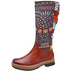 POLP Botas Mujer Tacon Invierno Impresión de Estilo étnico Clásicas Casual Botas Mini tacón con Cordones Zapatos de Tacón de 4 cm Hecho a Mano Costuras
