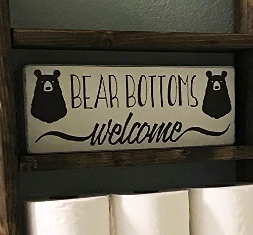 Bair89Pulla Bär Bottoms Welcome rustikales Holzschild, Weiß & Braun Badezimmerdekoration, Bauernhaus Dekor -