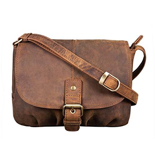 STILORD \'Iris\' Leder Handtasche Damen klein Vintage Umhängetasche zum Ausgehen Klassische Abendtasche Partytasche Freizeittasche Echtleder, Farbe:mittel - braun