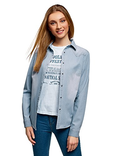 oodji Ultra Mujer Camisa Vaquera con Botones a Presión, Azul, ES 42 / L