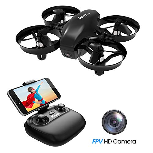 Potensic Drone con Cámara HD, Mini Drone con Modo de Inducción de Gravedad, FPV WiFi 2.4G, Altitud Hold, Modo sin Cabeza, Una Tecla de Despegue y Aterrizaje, Regalo Juguetes, A20W Negro