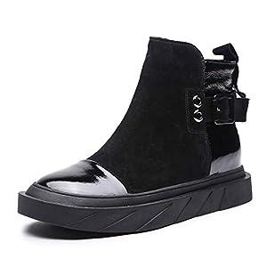Top Shishang Mode lässig Leder Plattform erhöht Martin Stiefel Metall Schnalle Chelsea Stiefel Damen und Stiefeletten