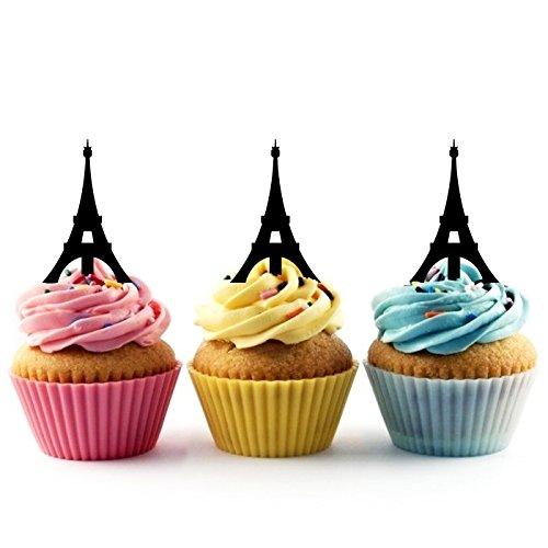 Eiffel Tower Kuchenaufsätze Hochzeit Geburtsta Acryl Dekor Cupcake Kuchen Topper Stand für Kuchen Party Dekoration 10 Stück