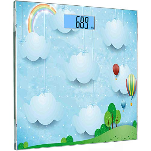 Ultra Slim Hochpräzise Sensoren Digitale Waage für Körperwägung Kindergarten Personenwaage aus gehärtetem Glas, Thema Kindergarten mit Luftballons Wolken und Sterne auf den Hügeln Cartoon-Stil Design,