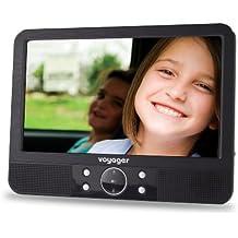 """Voyager - Reproductor de DVD portátil LCD (9"""", incluye soporte para coche y accesorios), color negro (importado)"""