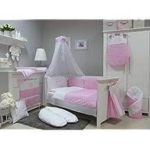 Babymajawelt Stars Juego de ropa de cuna, 4 piezas, apto para cunas de 140 x 70 cm, ropa de cama bordada, protectores de cuna y dosel con mosquitera